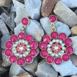 Pink and orange dangly flower earrings!